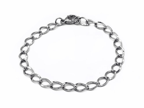 STERLING SILVER 925 TWISTED CURB BRACELET - 7.5""