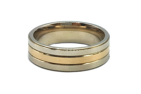 14K SOLID TWO TONE GOLD MEN BAND RING