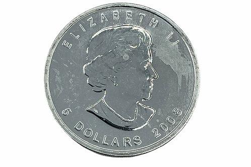1oz $5 2008 CANADIAN MAPLE FINE SILVER