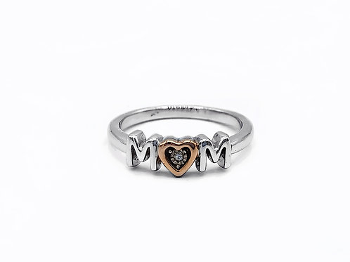 """STERLING SILVER """"MOM"""" RING - SIZE 7"""