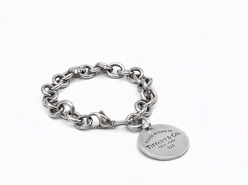 TIFFANY AND CO. - SILVER ROUND TAG BRACELET