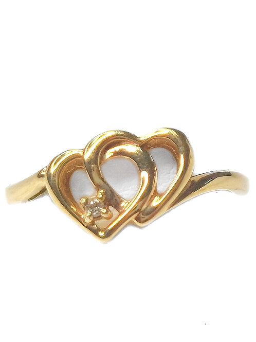 10K YELLOW GOLD DOUBLE HEART DIAMOND RING - SIZE 7