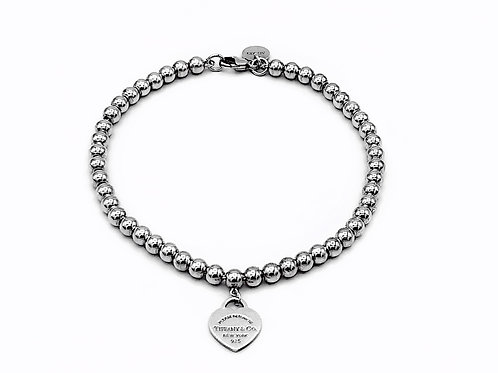 TIFFANY & CO - RETURN TO TIFFANY SILVER PINK ENAMEL HEART BRACELET