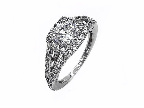 STERLING SILVER ENGAGEMENT RING - SIZE 5.25