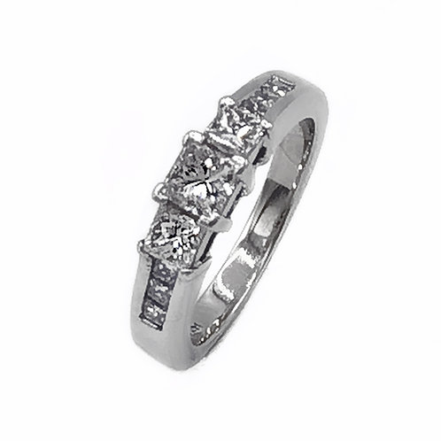 0.67 CT T.W. PRINCESS-CUT DIAMOND RING IN 14K WHITE GOLD - SIZE 5.75