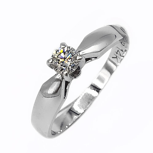 0.27 CT ROUND DIAMOND SOLITAIRE RING IN 14K WHITE GOLD - SIZE 5.5