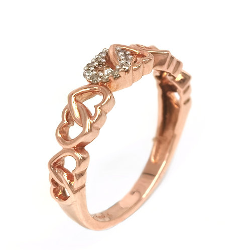 10K ROSE GOLD DIAMOND INFINITY HEART RING
