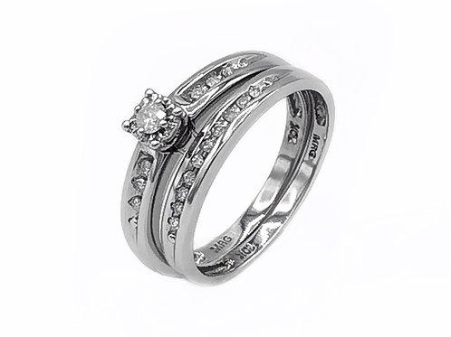 0.10 CT T.W. ROUND DIAMOND RING SET IN 10K WHITE GOLD - SIZE 7.5