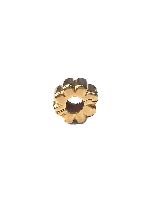 PANDORA 14K GOLD RIBBED SPACER CLIP CHARM -#750118