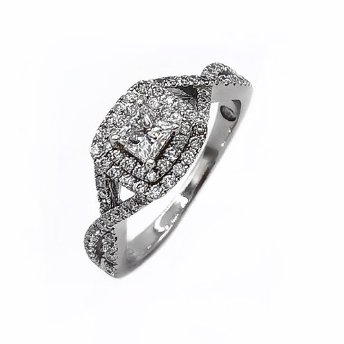0.89 CT T.W. PRINCESS-CUT DIAMOND HALO STYLE RING IN 14K WHITE GOLD - SIZE 9