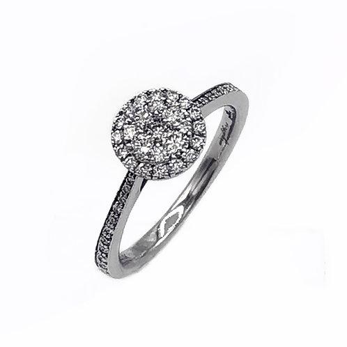 0.25 CT T.W. ROUND DIAMOND HALO RING IN 14K WHITE GOLD - SIZE 7
