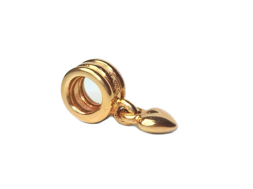 14K PANDORA GOLD HEART DANGLE CHARM #750198