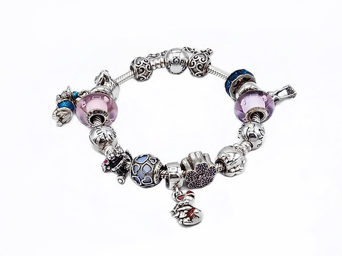 AUTHENTIC PANDORA WINNIE THE POOH THEME BRACELET WITH CHARMS - 8""