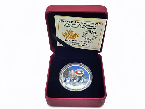 2017 $10 FINE SILVER COIN PASSION TO PLAY MONTREAL CANADIENS