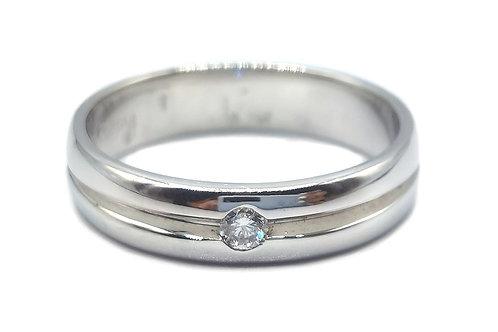 10K SOLID WHITE GOLD SOLITAIRE DIAMOND MEN RING