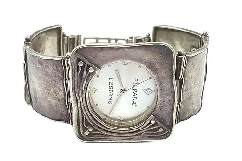 SILPADA 925 RETIRED HAMMERED STERLING SILVER WATCH