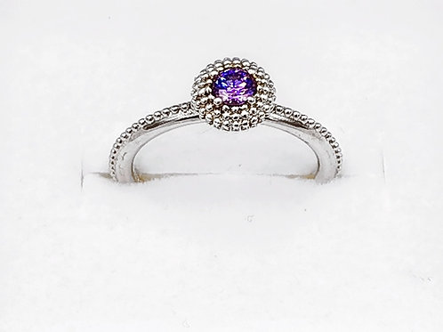 CHAMILIA STERLING SILVER BEADED RING WITH PURPLE STONE - SIZE 6
