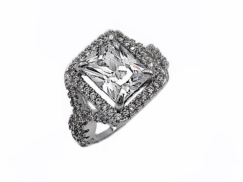 STERLING SILVER ENGAGEMENT RING - SIZE 5