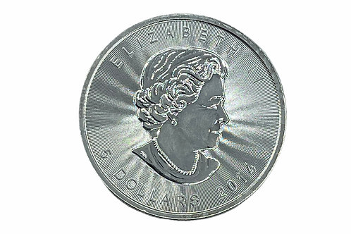 1oz $5 2014 CANADIAN MAPLE FINE SILVER