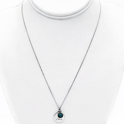 """STELLA & DOT STERLING SILVER """"M"""" INITIAL NECKLACE - 18"""""""