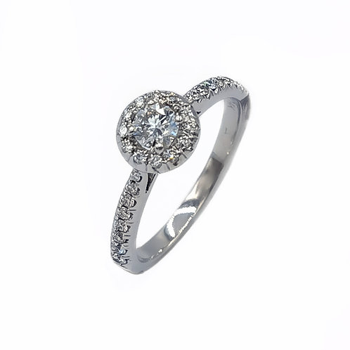 0.43 CT T.W. ROUND DIAMOND BEZEL-SET SIDE ACCENT RING IN 14K WHITE GOLD - SIZE 8