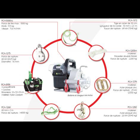 Treuil de tirage PCW3000-Li-HK Chasse Portable Winch
