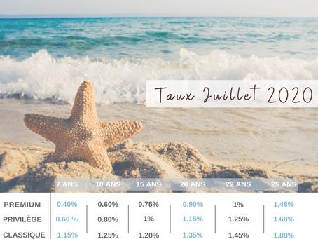 Les taux d'intérêt du mois de Juillet 2020