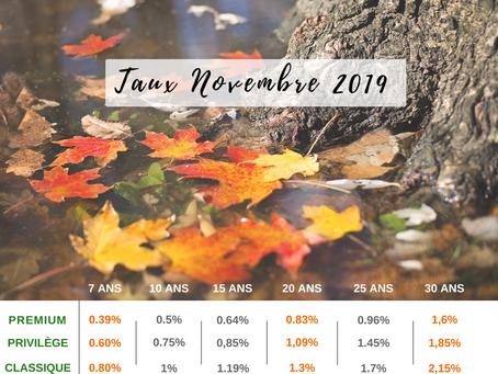 🍂TAUX D'INTÉRÊT NOVEMBRE 2019 🍂