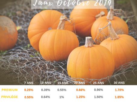 Taux d'intérêt Octobre 2019