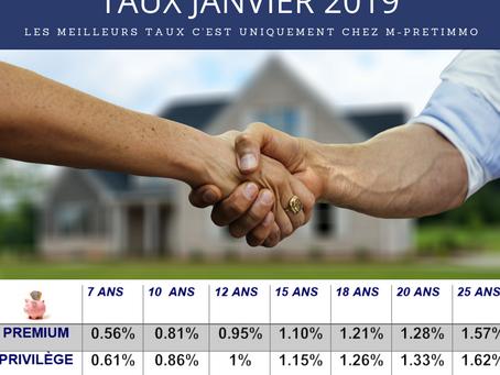 TAUX EN BAISSE EN JANVIER 2019