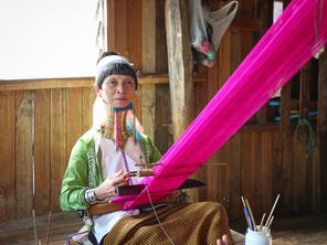 Padaung Woman Weaving