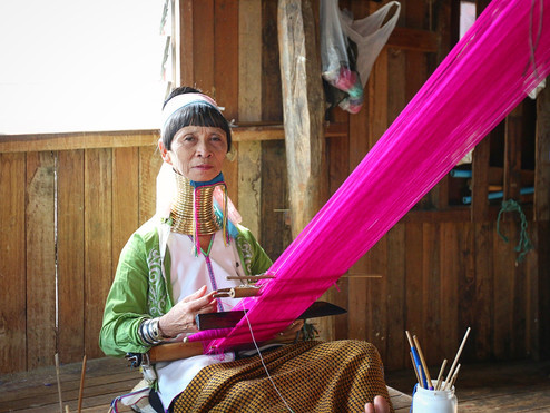 Padaung Woman Weaving