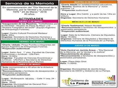 Actividades por la Semana de la Memoria
