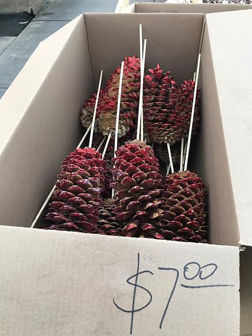 Sugar cones red glittered
