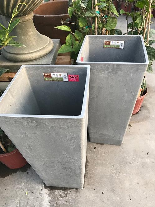 Tall square plastic pot