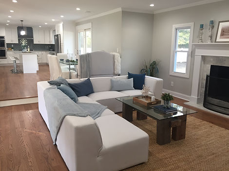 Staged Long Island | Staging Your Home For Sale | Home Stager | Increase Value | Sell Your Home | Family Room | Kitchen | Dining Room | Two Level Rooms | After Staging
