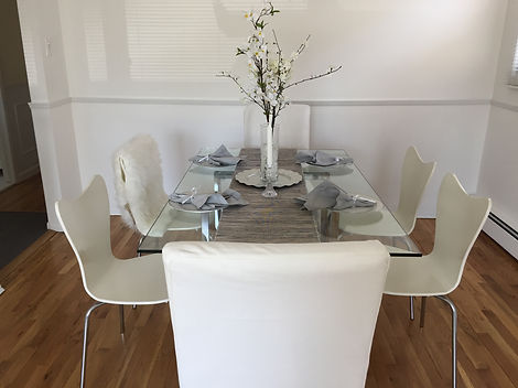 Staged Long Island | Staging Your Home For Sale | Home Stager | Increase Value | Sell Your Home | Dining Room | Dinner Table | Set Table | After Staging