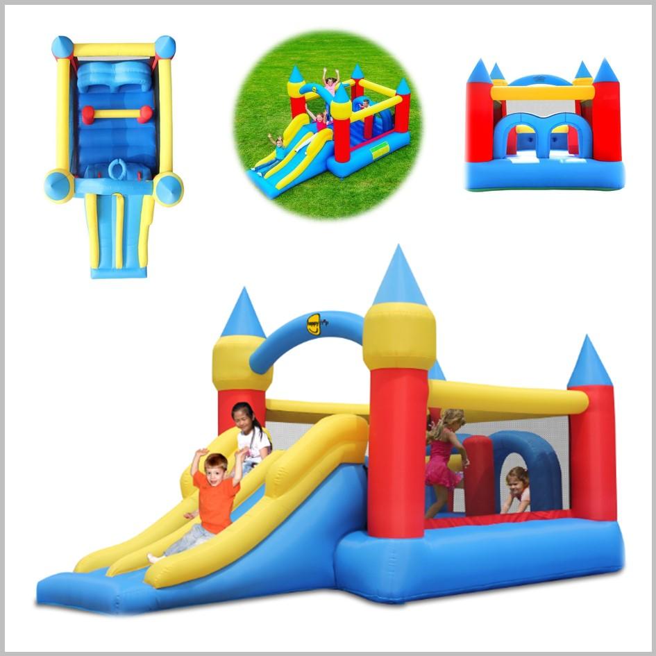 Castelo insuflável Happy Hop - Obstacle Course Double Slide - 9474