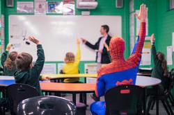 Spiderman in class MBPS #superherowalk