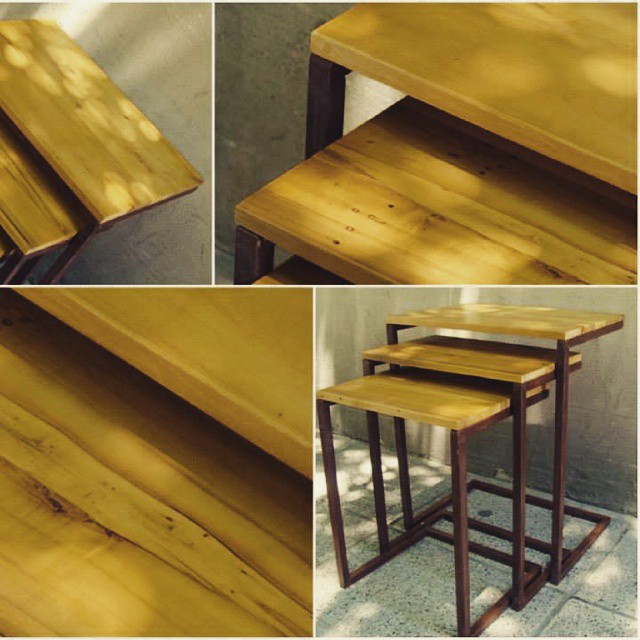 Mesitas madera hierro