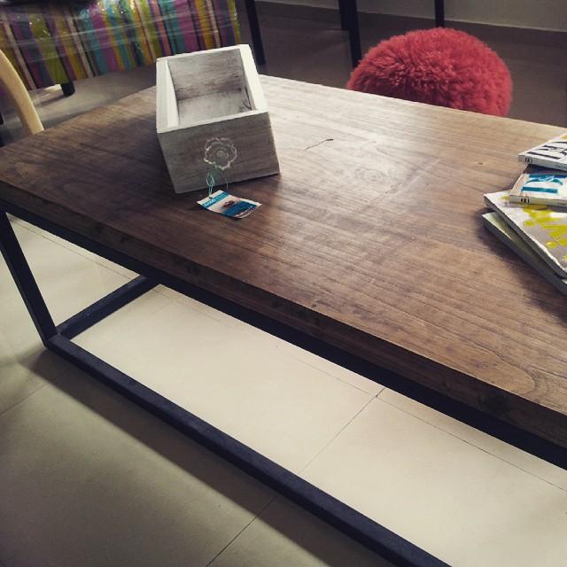 "Mesa ratona madera maciza 2 "". Con hierro"