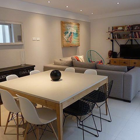 Mesa de comedor madera y microcemento