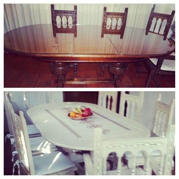 Cliente más que feliz!! Mesa y sillas  restauradas