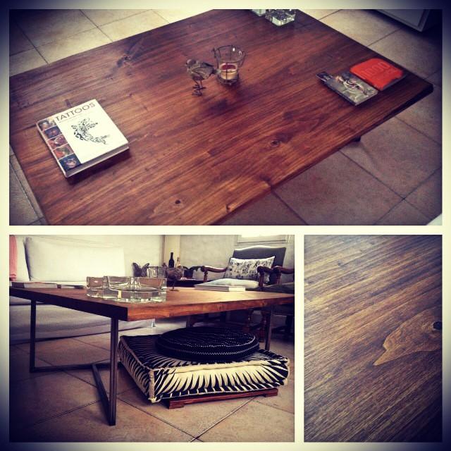 Mesa ratona de madera maciza con hierro! Tabla de 1 pulagada... patas de hierro