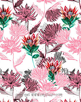 Tropical Floral Artwork for Fabric