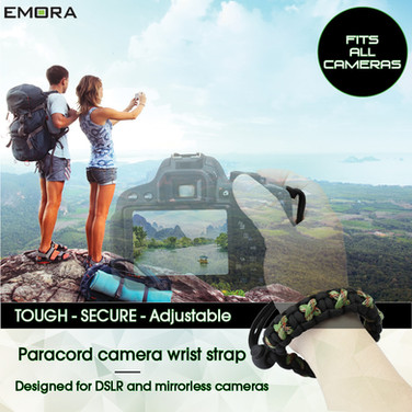 TOUGH Universal Paracord wrist camera strap for DSLR, mirrorless and full frame cameras - Camo Green