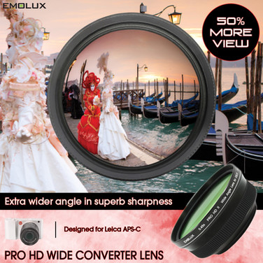 [For Leica APS-C] Emolux PRO HDII 0.45x Wide Converter Lens for Leica CL TL2 with Leica Vario-Elmar-TL 18–56mm f/3.5–5.6 ASPH Zoom Lens (52mm)