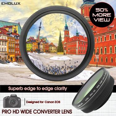 [For Canon DSLR] Emolux PRO HD 0.45x Wide Converter Lens for Canon 1500D 1300D 800D 750D 700D 200D 200DII 80D 77D with EF-S and EF lens (58mm)