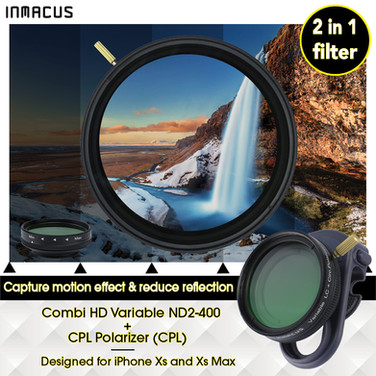 [For iPhone Xs & Xs Max] Digital HD Combi 2 in 1 Variable ND 2-400 + CPL Filter