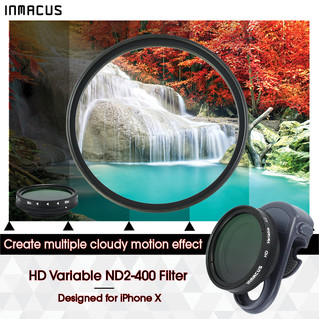 [For iPhone X] Digital SLIM HD Optical Glass Variable Light Control Fader ND 2-400 Camera Lens Filter